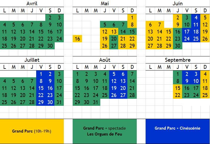 Calendrier Puy Du Fou 2021 calendrier 2016 puy du fou   Relais du Boisniard | Résidence
