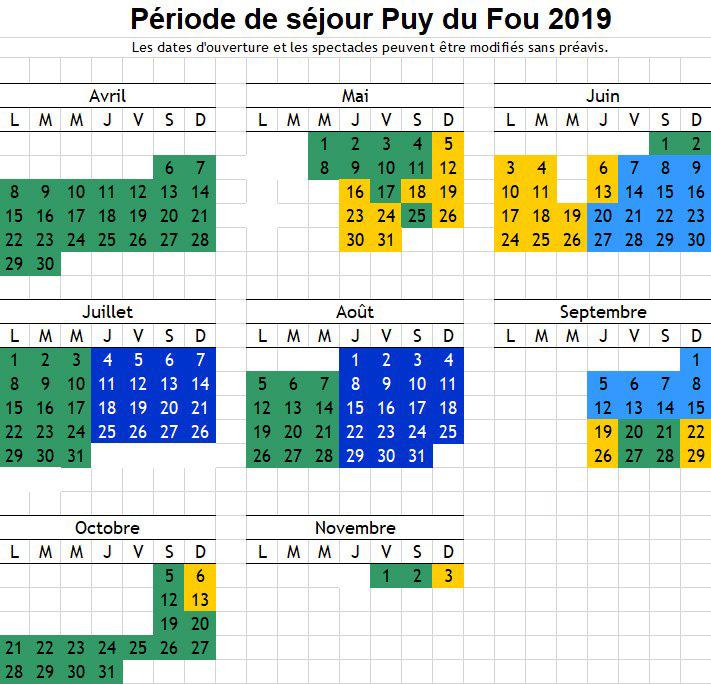 Calendrier Puy Du Fou 2022 calendrier puy du fou 2019   Relais du Boisniard   Résidence