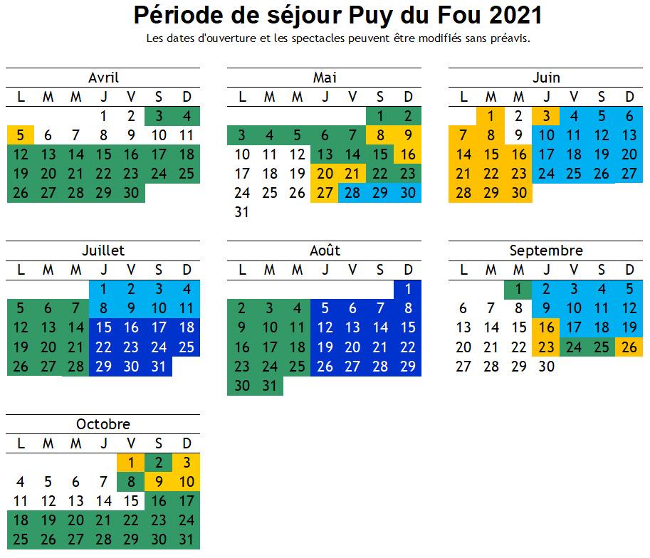 Calendrier Puy du Fou 2018