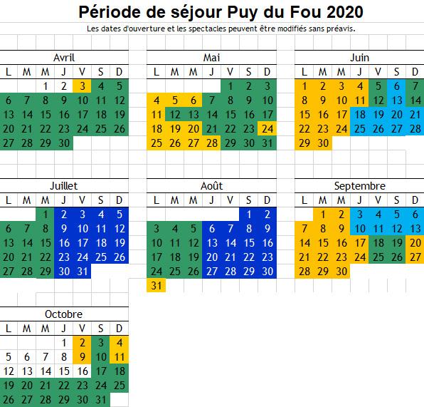 Calendrier Puy Du Fou 2021 Calendrier Puy du Fou 2020   Relais du Boisniard | Résidence